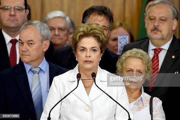 TOPSHOT Brazil's suspended President Dilma Rousseff makes a statement at the Planalto Palace in Brasilia on May 12 2016 Rousseff said Thursday that...