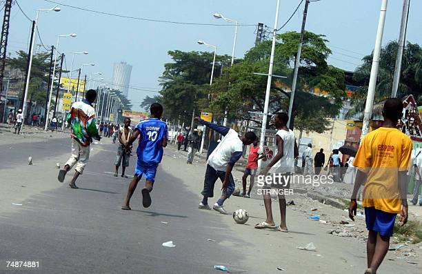 Youths play on the streets of Brazzaville Republic of Congo after road traffic was suspended during the first round of legislative elections Polls...