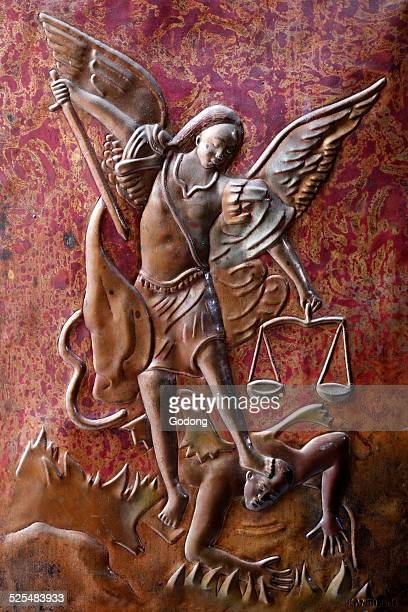 Brazzaville St Anne s Basilica Depiction of the Archangel St Michael slaying the dragon