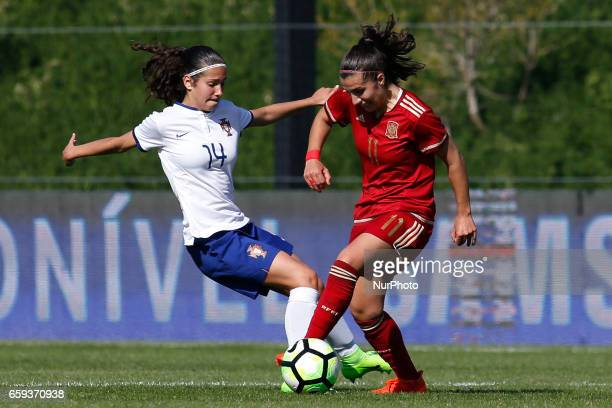 Brbara Lopes of Portugal and Carla Piqueras Bautista of Spain during the UEFA U17 Women's Championship Qualifier match between Spain and Portugal at...