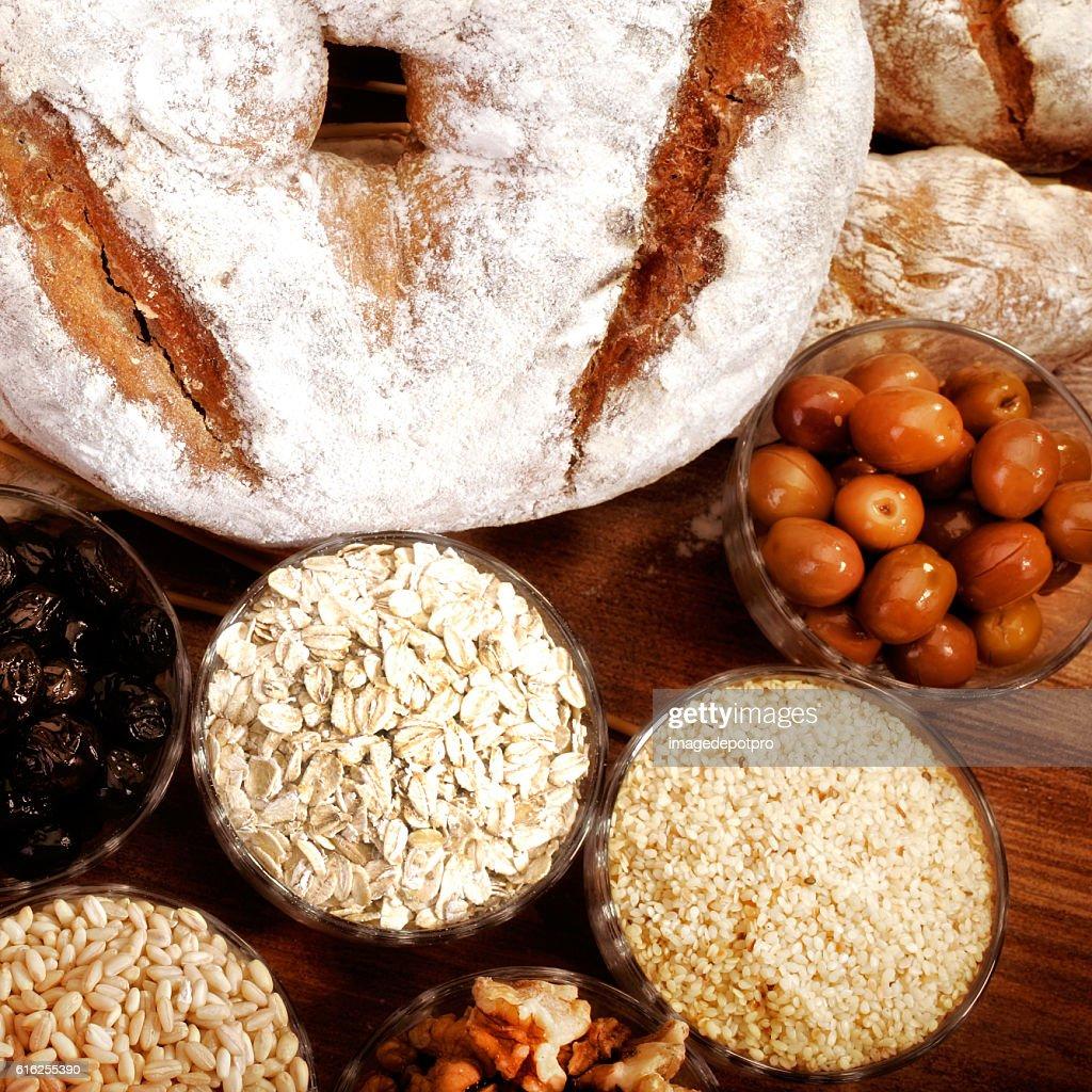 Pão e componentes : Foto de stock