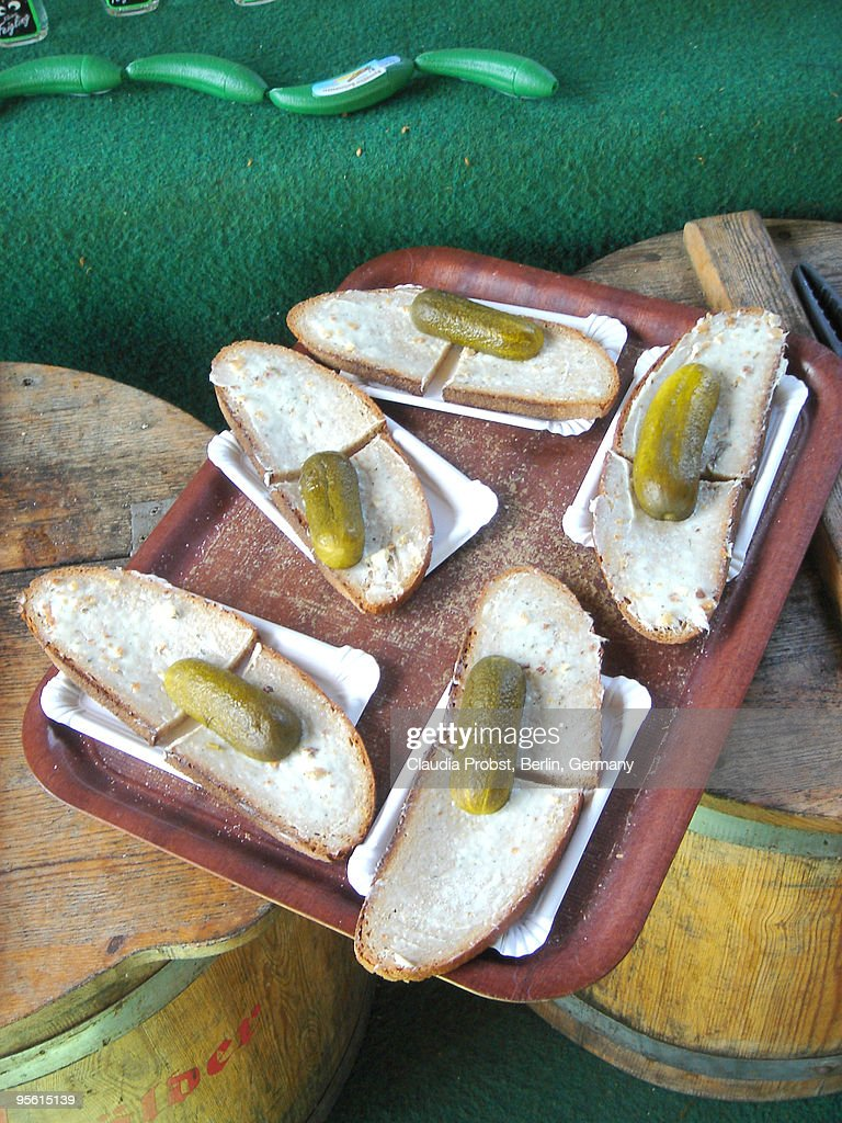 Bread and pickled cucumber