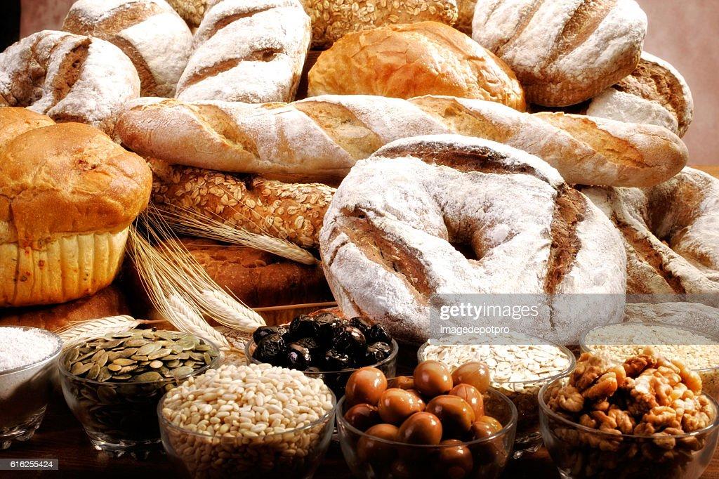 bread arrangement and ingredients : Stock Photo