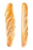 bread baguette set on white background