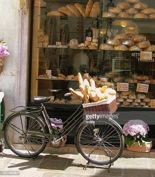 Bread Delivery Bike with Bakery Window- bread loaves in basket