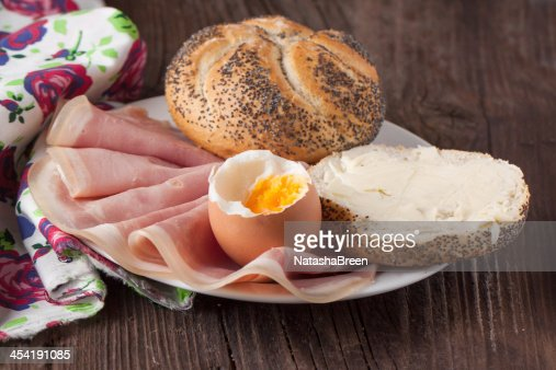 bread, ham and egg : Stock Photo