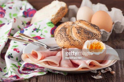 bread, ham and egg : Stock Photo
