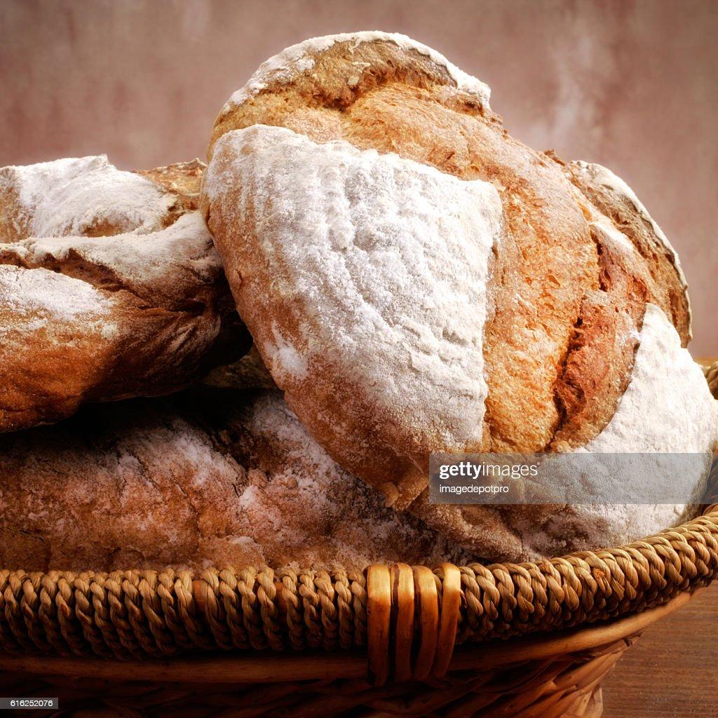 bread in basket : Stock Photo