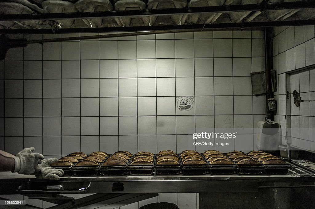 Bread is stored after its baking, on December 27, 2012 in a bakery of Ecole en Bauges, French Alps.