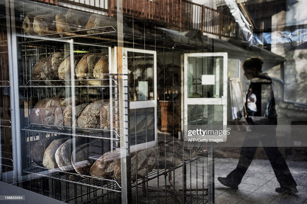 Bread is stored pending delivery, on December 27, 2012 in a bakery of Ecole en Bauges, French Alps.