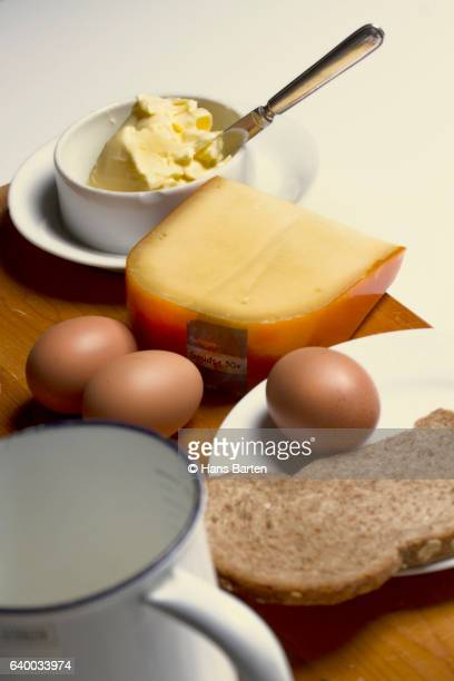 bread, milk, cheese, butter and eggs