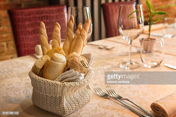 bread, olive bread on table set