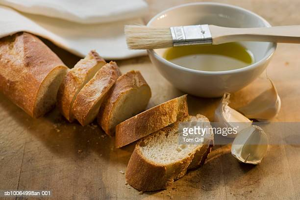 Bread, olive oil and garlic, close-up