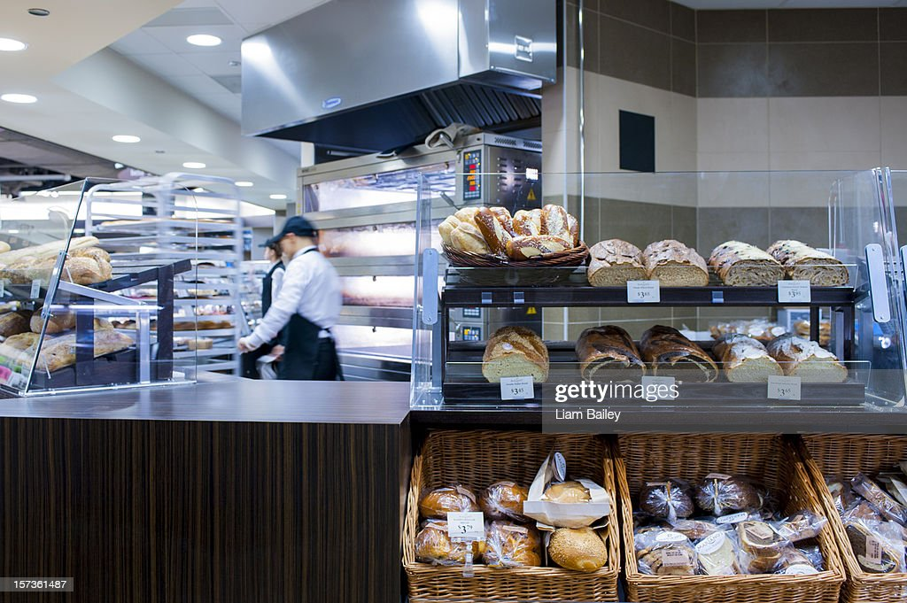 Bread on display in a bakery shop : Stock Photo