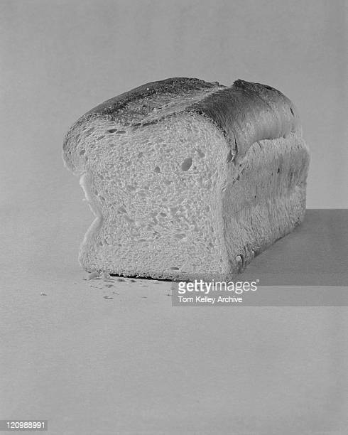 Bread on white background, close-up