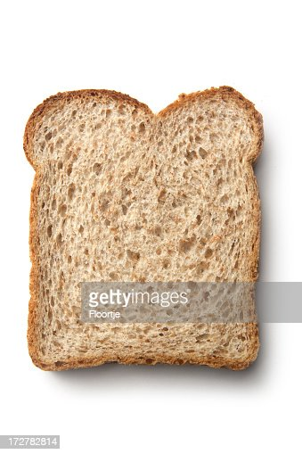 Bread: Slice of Brown Bread Isolated on White Background