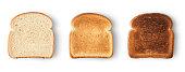 Set of three slices toast bread isolated on white