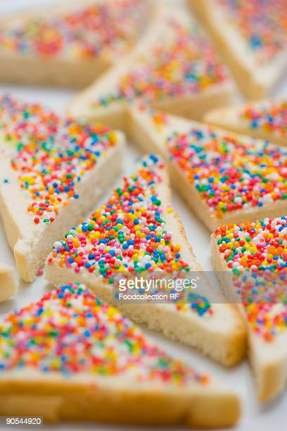 Bread slices topped with sprinkles, close up