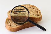 Two slices of bread placed under a magnifier on bright background