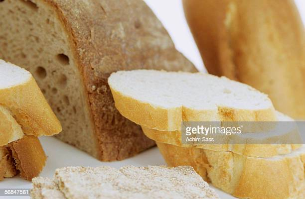 Slices of different bread varieties, close-up