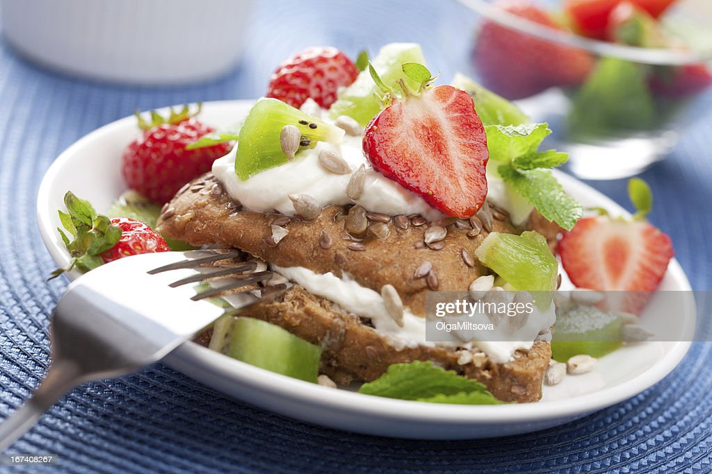 bread with cottage cheese and berries : Stock Photo