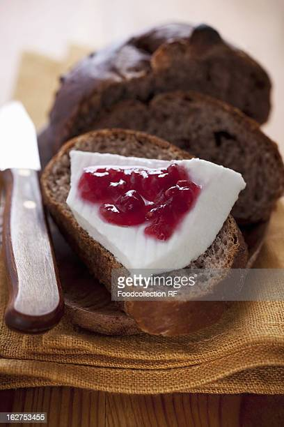 Bread with cream cheese and jam