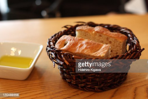 Bread with olive oil : Stock Photo