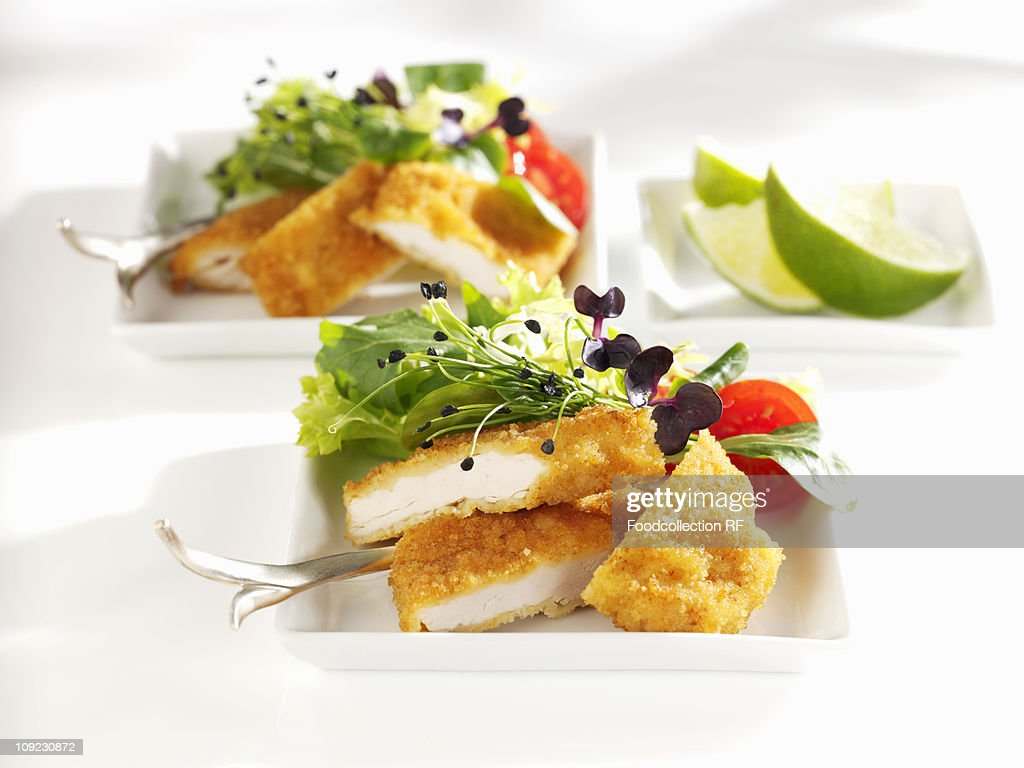 Breaded turkey with salad in tray, close-up : Stock Photo
