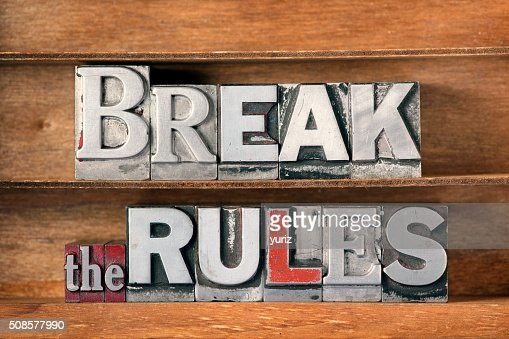 break the rules tray : Stockfoto