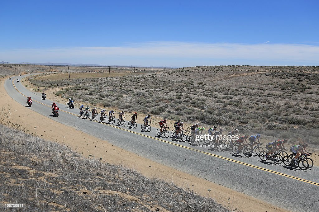 A breakaway of 23 riders launches a failed attempt to escape the peloton early in Stage Three of the 2013 Amgen Tour of California from Palmdale to Santa Clarita on May 14, 2013 in Palmdale, California.