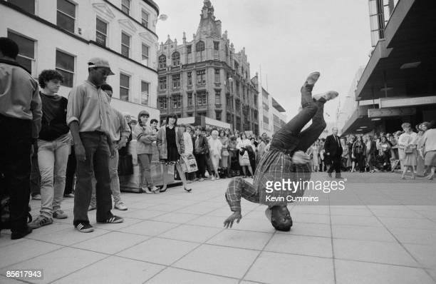A breakdancer performing in Manchester city centre 2nd August 1992