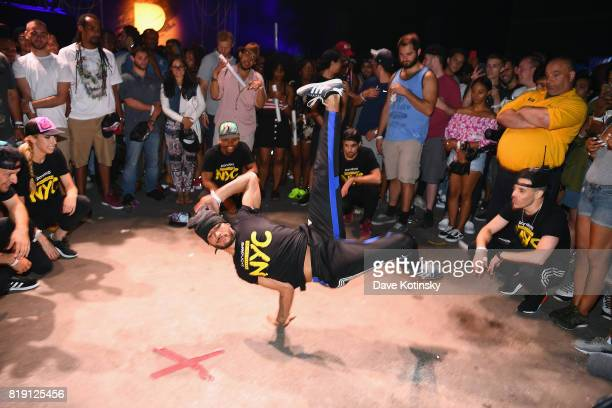 Breakdancers perform during Pandora Sounds Like You NYC featuring Nas Young MA Dave East and Biz Markie DJ Set at Brooklyn Steel on July 19 2017 in...