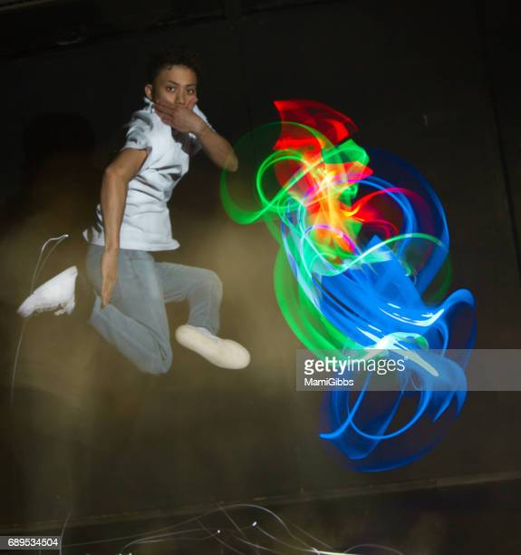 Breakdancing in the light painting