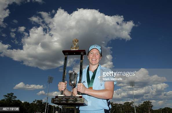 Breakers captain Alex Blackwell holds aloft the trophy after winning the WNCL Final match between South Australia and New South Wales at Blacktown...