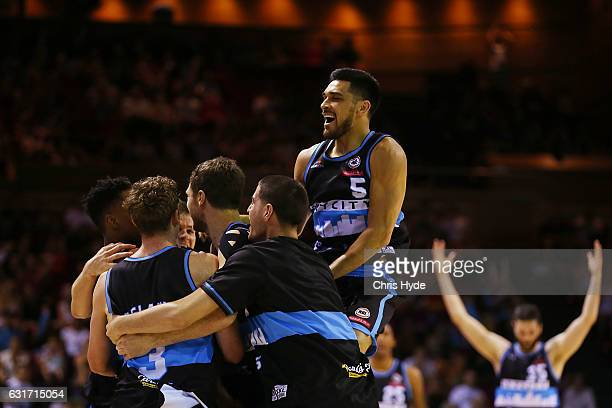 Breakers celebrates winning the round 15 NBL match between the Brisbane Bullets and the New Zealand Breakers at Brisbane Convention Exhibition Centre...