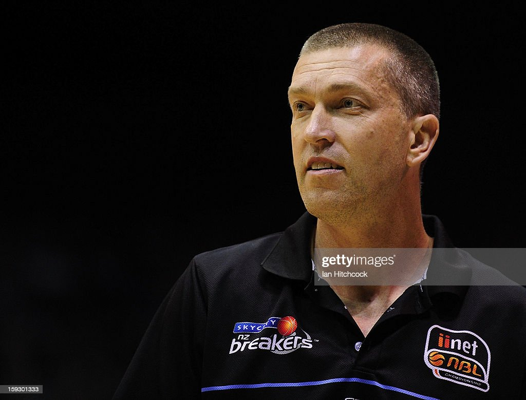 Breakers coach Andrej Lemanis looks on during the round 14 NBL match between the Townsville Crocodiles and the New Zealand Breakers at Townsville Entertainment Centre on January 11, 2013 in Townsville, Australia.
