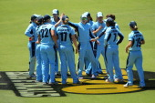 Breakers players celebrate the wicket of Nicole Bolton of the Fury during the women's Twenty20 final match between the NSW Breakers and the Western...