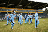 Breakers take the field during the WT20 match between New South Wales Breakers and ACT Meteors at Blacktown International Sportspark on October 10...