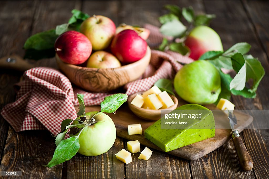 Breakfast: Apples with cheese : Stock Photo