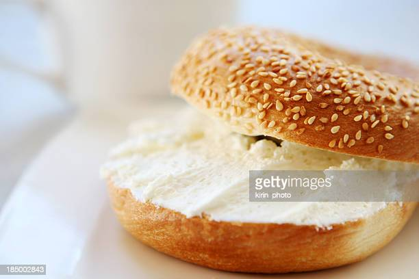 breakfast - bagel and cream cheese