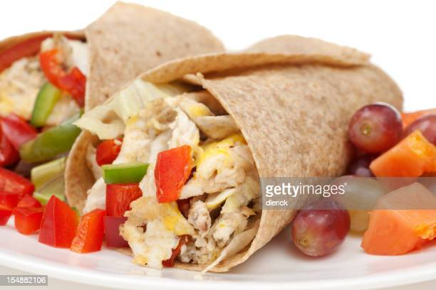 Breakfast Burrito with Eggs, Potatoes; Onions, Peppers, Grapes a