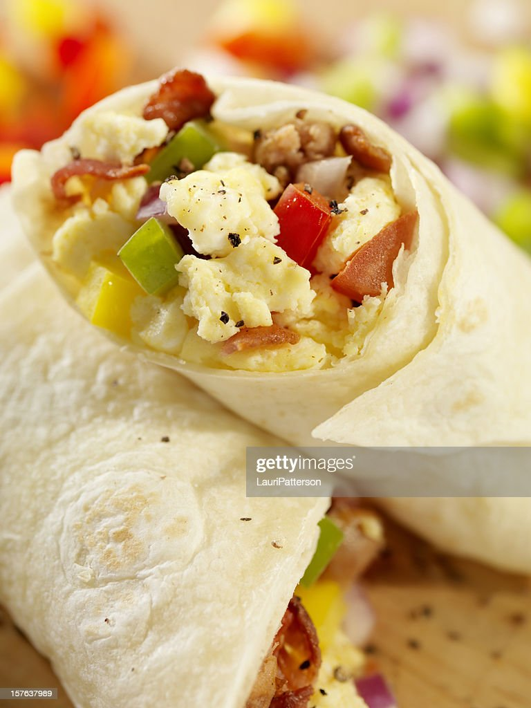 Breakfast Burrito with Scrambled Eggs : Stock Photo
