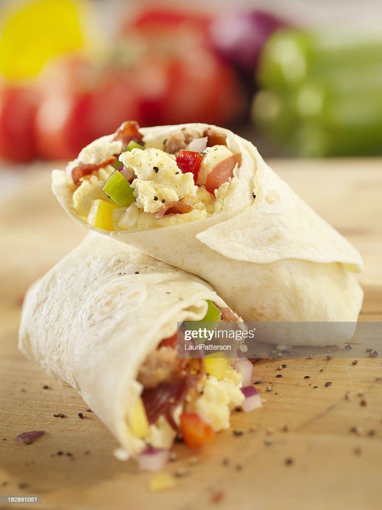 Breakfast Burrito With Scrambled Eggs Stock Photo   Getty ...