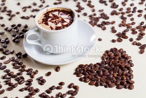 Breakfast Cappucino With Love Symbol Raw Coffee Stock Photo Thinkstock