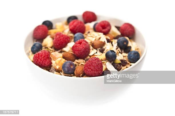 Breakfast cereal and oats with fresh berries and dry fruits