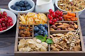 breakfast cereal and other ingredients in a wooden box, horizontal