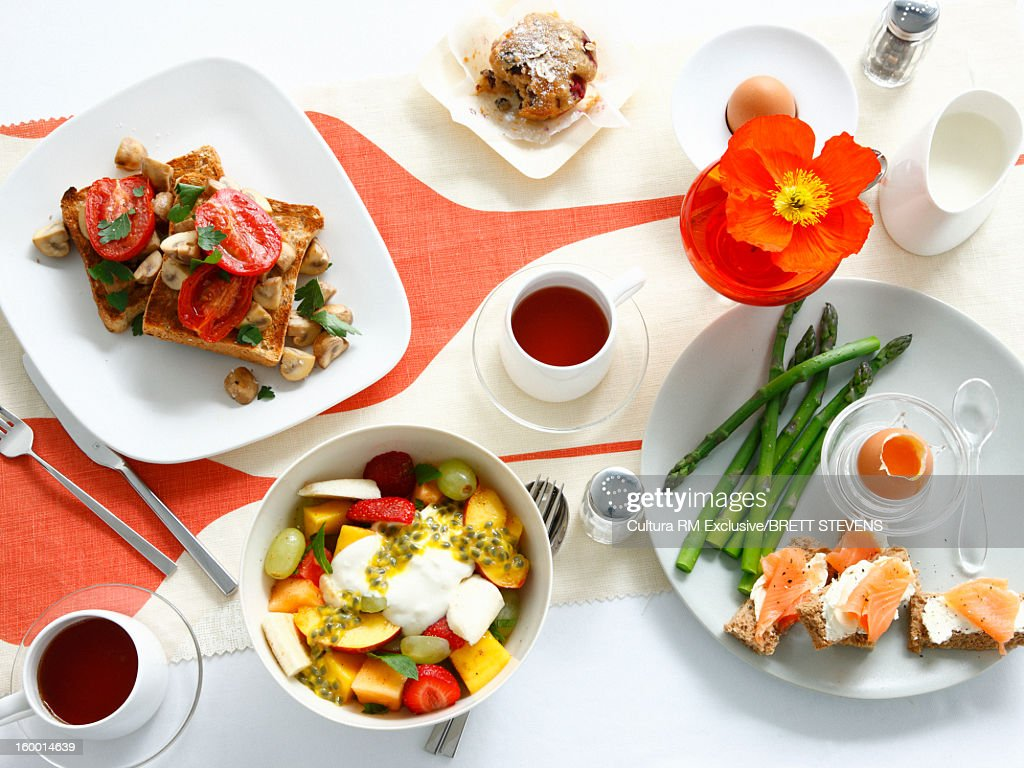 Breakfast dishes on table : Stock Photo