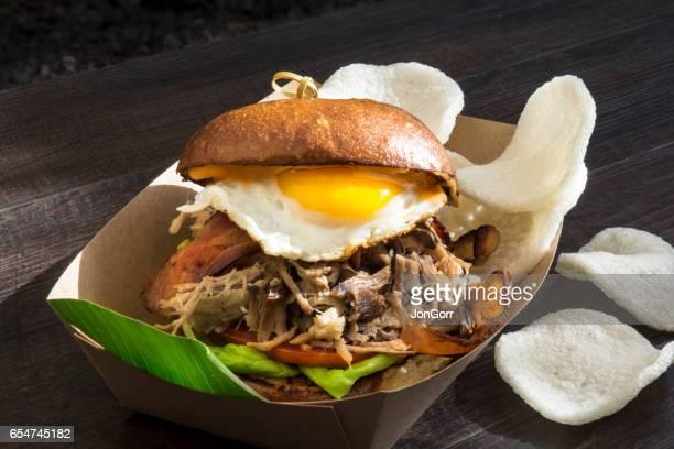 Breakfast Fried Egg And Pulled Pork Bagel Sandwich