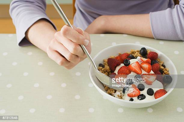 Breakfast granola with fruit