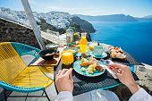 Breakfast in luxurious resort in Santorini